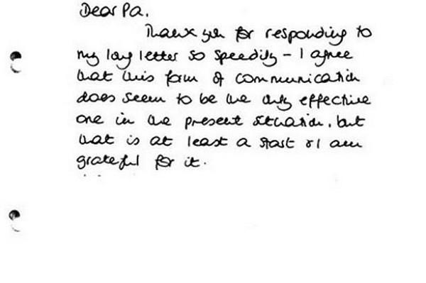 Một trong những bức thư Công nương gửi bố chồng của mình