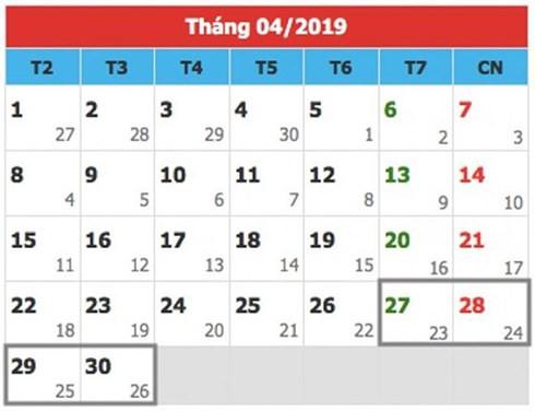 Dịp lễ 30/4- 1/5/2019, công chức, viên chức sẽ được nghỉ 5 ngày.