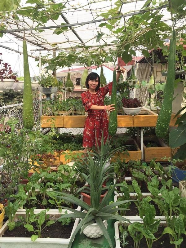 Chị Nhung vui vẻ khoe khu vườn trên cao của mình.
