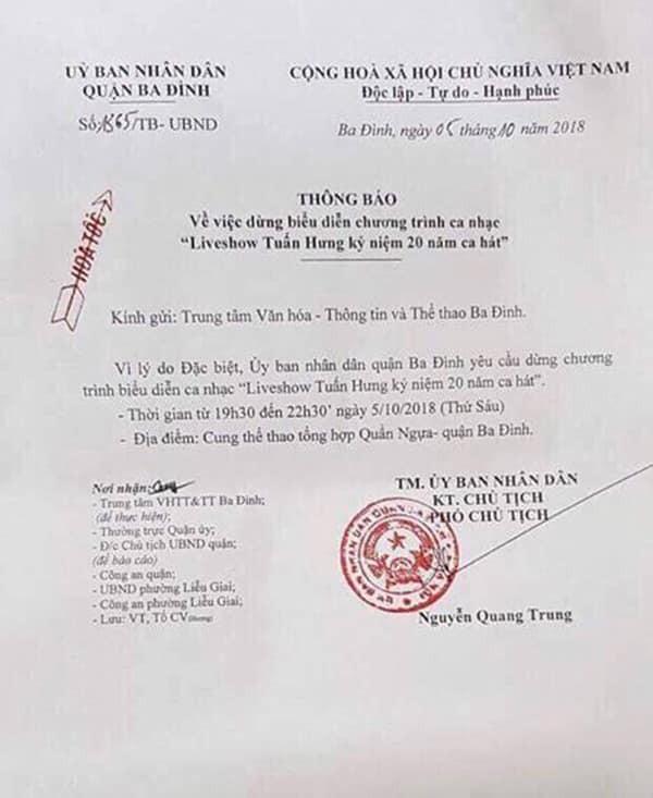 Thông báo của UBND quận Ba Đình về việc dừng liveshow của ca sĩ Tuấn Hưng.