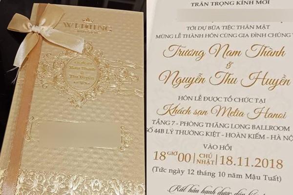 Thiệp cưới của Trương Nam Thành và doanh nhân Thu Huyền.