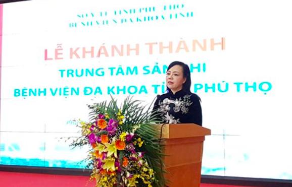 Bộ trưởng Bộ Y tế Nguyễn Thị Kim Tiến phát biểu tại Lễ khánh thành