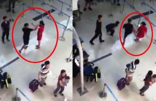 Nữ nhân viên hàng không bị 3 đối tượng hành hung (ảnh cắt từ clip)
