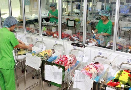 Chăm sóc trẻ sơ sinh. Ảnh: Dương Ngọc/TTXVN