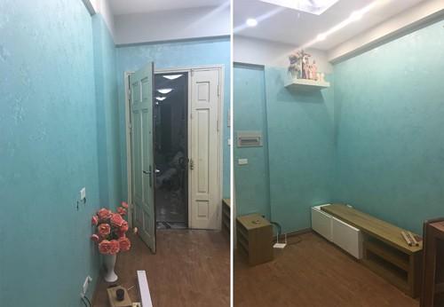 Căn hộ thuê 61,5 m2 của một đôi vợ chồng trẻ ở khu đô thị Hoàng Văn Thái, quận Thanh Xuân, Hà Nội trước khi cải tạo khá đơn điệu, tối tăm với giấy dán tường xanh, kệ tivi... Ngay khi đến thuê, họ quyết định cải tạo nội thất cho trẻ trung, hiện đại hơn. Vì chi phí ít, nên hai vợ chồng làm trước khu bếp và phòng khách. Họ yêu cầu kiến trúc sư giữ lại toàn bộ cửa đi, phần bếp đã có sẵn, và cửa sổ.