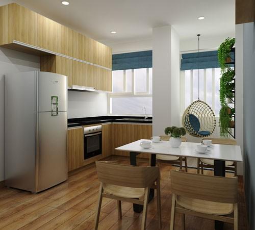... sau cải tạo nhìn gọn gàng, sáng đẹp hơn nhiều với bộ bàn ghế gỗ đơn giản, cùng tông với màu chủ đạo của nhà.