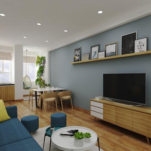 Căn hộ cũ khoác lớp áo mới sạch sẽ, hiện đại hơn chỉ với chi phí 30 triệu đồng bao gồm sơn lại cửa, làm lại trần, mua bộ sofa, bàn trà, đóng kệ tivi, tủ giày và sơn lại tường.