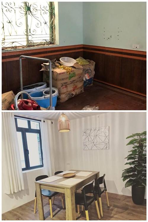Kiến trúc kiểu Bắc Âu mang hơi hướng đồng quê được chị Hương Trang lựa chọn sử dụng. Chị nhấn mạnh sự giản dị, thoải mái bằng loạt nội thất gỗ gam trung tính. Ngoài ra sofa, bàn trà và rèm cửa màu trắng.