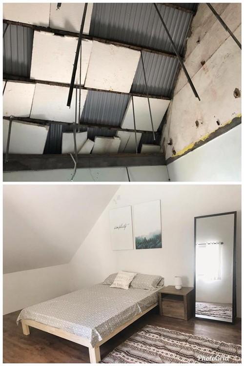 Gác mái với diện tích không lớn được ngăn đôi tạo hai phòng ngủ riêng biệt.