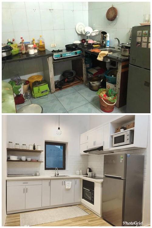 Khu bếp lên đời nhờ nội thất, có thêm ánh sáng vì được đục cửa sổ.