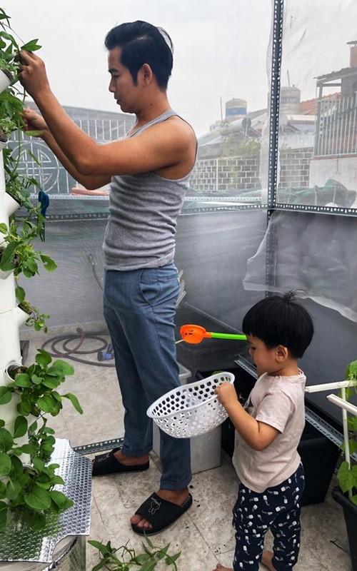 Cặp vợ chồng chọn trồng các loại rau dễ chăm như rau muống, mồng tơi, cải xanh, mướp và tần ô (cải cúc). Nông phẩm thu hoạch được chủ yếu phục vụ bữa ăn gia đình và đảm bảo nguồn thực phẩm sạch cho bé Louis.