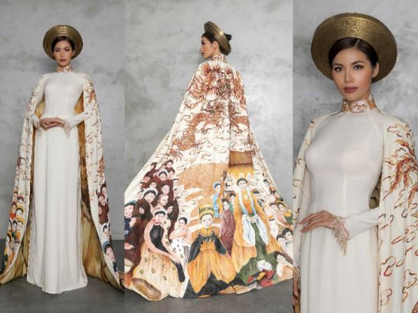 Siêu mẫu Minh Tú đem bộ áo dài có tên Con rồng cháu tiên đến cuộc thi Hoa hậu Siêu quốc gia 2018