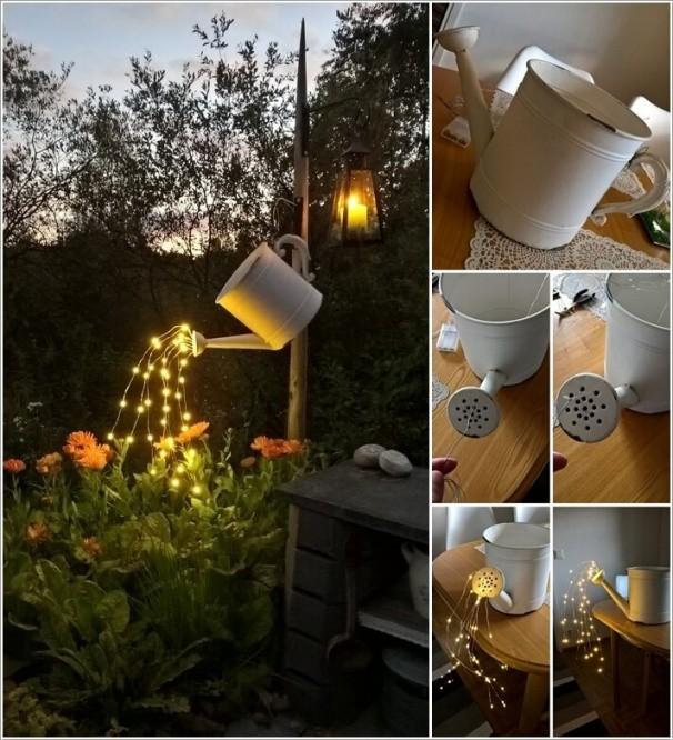 1. Tận dụng thùng tưới nước để gắn lên cây. Thay vì đổ nước vào tưới như thông thường, bạn có thể dụng những dải đèn LED móc theo hình tia nước phun. Thắp sáng đèn để vẻ đẹp độc đáo này có thể tỏa sáng trong vườn.