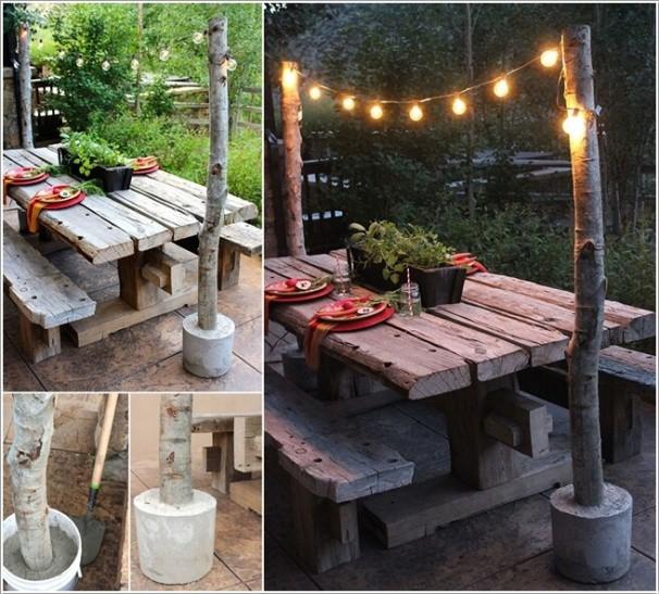 2. Bạn có thể đóng hai cột bằng gốc cây hai bên bàn ăn và bắt đầu thắp thêm ánh sáng lãng mạn.