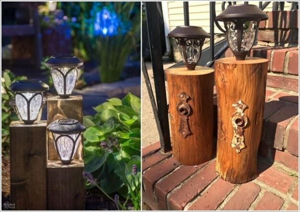 3. Hoặc có thể xếp các gốc cây cạnh nhau để làm chân đèn.