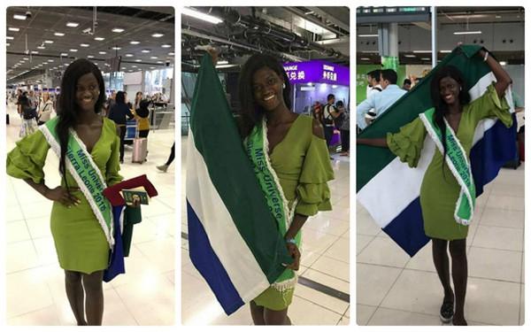 Hoa hậu Sierra Leone đặt chân đến Bangkok vào ngày 8/12.