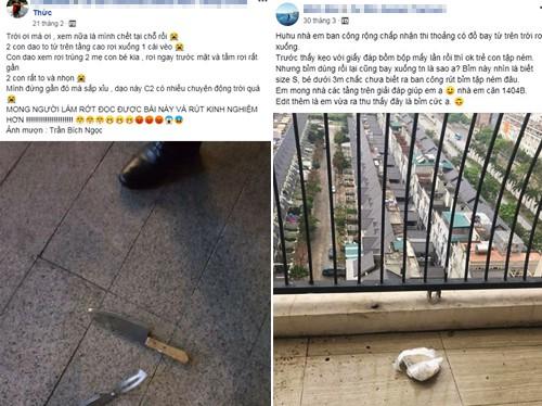 Bỉm bẩn, chổi, ca cốc, thậm chí dao kéo đã được ghi nhận rơi xuống tại nhiều chung cư cả ở Hà Nội, TP HCM...
