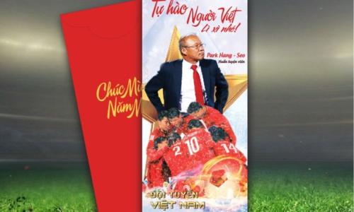 Bao lì xì in hình đội tuyển Việt Nam.