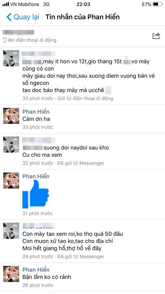 Phan Hiển bình thản trả lời anti-fans.