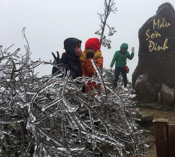 Băng giá xuất hiện trên đỉnh Mẫu Sơn ngày 30/12. Ảnh: B.M.T