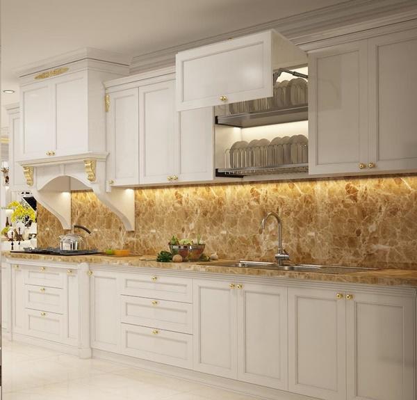 Căn bếp đơn giản, tông màu trắng sạch sẽ.