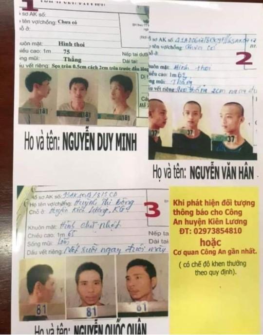 Các đối tượng vừa trốn trại tạm giam của Công an tỉnh Kiên Giang vào sáng nay. Ảnh do công an cung cấp