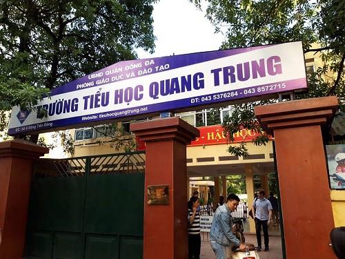 Trường Tiểu học Quang Trung - nơi phụ huynh phản ánh con bị cô giáo phạt tát trên lớp học. Ảnh: Q.Anh