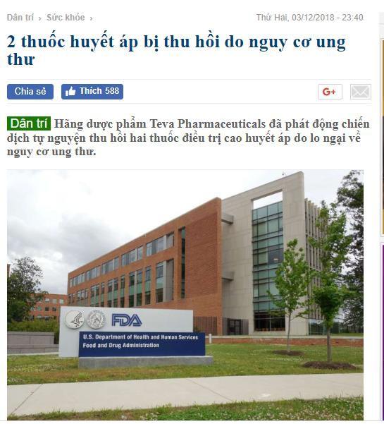 Ngày 3/12, báo Dân trí đưa tin thu hồi 2 thuốc huyết áp do nguy cơ ung thư