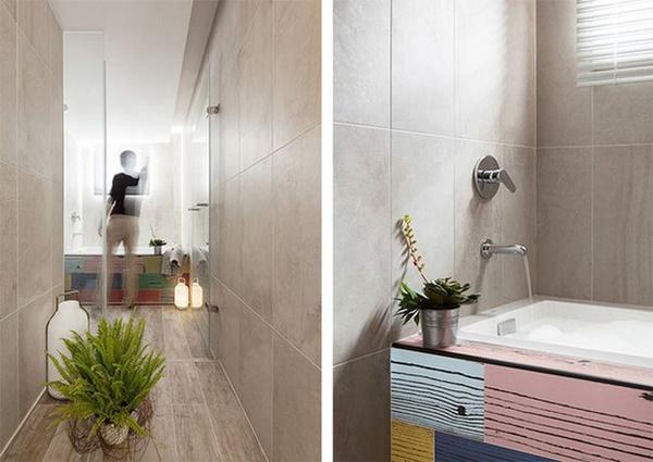 Nơi thư giãn, tắm mỗi ngày được bố trí gọn gàng.