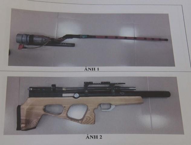 2 khẩu súng tự chế công an thu giữ tại nhà Duẫn.