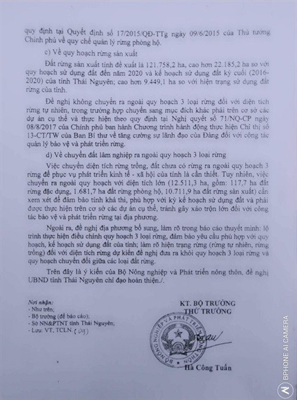 Văn bản của Bộ Nông nghiệp ý kiến về đề nghị chuyển đối rừng của tỉnh Thái Nguyên. (ảnh: HC)