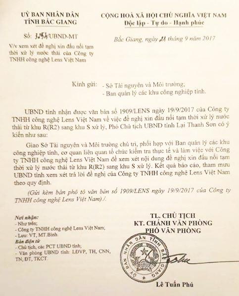 Công văn của UBND tỉnh Bắc Giang giao cho Sở TNMT tỉnh chủ trì xem xét đề nghị của Công ty Lens Việt Nam