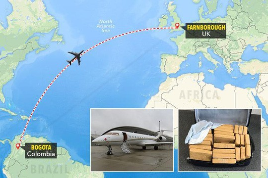 Chiếc máy bay tư nhân chở 15 vali đựng cocaine và 5 hành khách đến từ thủ đô Bogota hồi đầu tuần này. Ảnh: The Sun