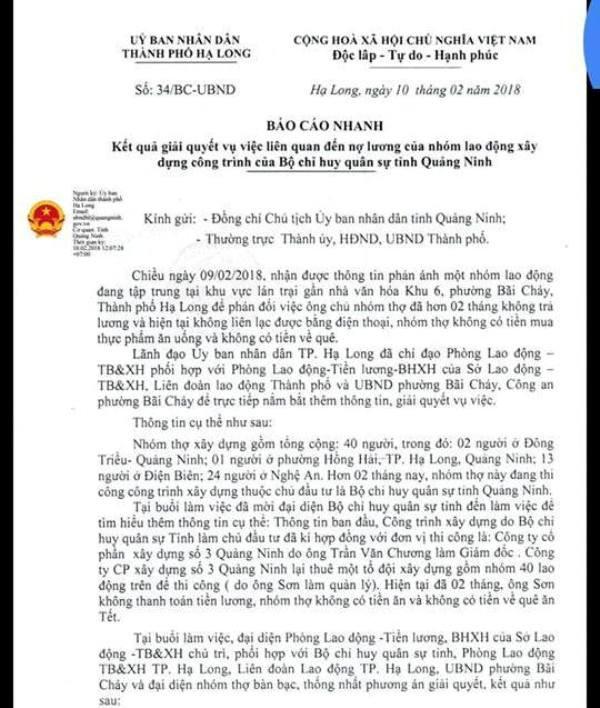 Báo cáo nhanh của UBND TP. Hạ Long về giải quyết sự việc