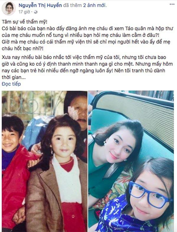 Nguyễn Thị Huyền viết tâm thư đáp trả chuyện phẫu thuật thẩm mỹ.