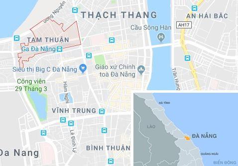 Phường Tam Thuận (Đà Nẵng), khu vực xảy ra vụ tai nạn. Ảnh: Google Maps.