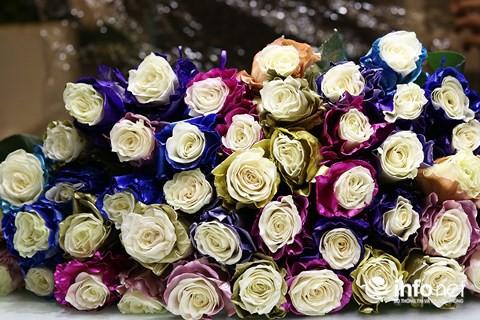 """Hoa hồng nhuộm màu nhập khẩu được khách hàng chịu chi lựa chọn. Theo chủ shop hoa Hồng Flower, người dân đổ xô về quê ăn Tết nên nhu cầu hoa Valentine giảm hẳn so với năm ngoái. Trong khi đó, các shop hoa lại phải hoạt động hết công suất để giao hoa Tết, bán hoa Valentine lợi nhuận không cao nên hầu như các shop hoa không mặn mà.  Sức mua giảm hẳn nhưng giá hoa hồng Đà Lạt lại tăng 50% so với ngày thường. Theo một chủ shop hoa tươi Đà Lạt tại quận 10, năm nay thời tiết lạnh kéo dài nên hoa ở các nhà vườn không nở đúng dịp, nguồn cung ít hơn.  Hoa hồng, loài hoa bán chạy nhất dịp Valentine, có giá bán dao động từ 7.000 – 10.000 đồng/bông. Trong khi đó, hoa hồng nhập khẩu có giá bán cao gấp 3 lần, từ 30.000 – 35.000 đồng/bông. Tuy vậy, sức mua không cao.     Nhiều bạn trẻ TP.HCM tìm mua hoa ăn được, là những bó dâu tây hoặc bánh chocolate Kit Kat vị dâu   Ngoài quà tặng là những hộp chocolate ngọt ngào, dịp Valentine năm nay giới trẻ TP.HCM rộ mốt mua """"hoa ăn được"""" tặng người yêu. """"Hoa ăn được"""" là những chùm dâu tươi chín mọng hay bánh chocolate Kit kat vị Strawbery được gói lại như bó hoa, có giá bán từ 50.000 – 60.000 đồng/bó.  Với phân khúc hoa nhập khẩu, thị trường hoa Valentine tại TP.HCM năm nay lần đầu có loại hoa hồng nhuộm màu bạc.     Hoa hồng nhuộm bạc lần đầu có mặt trên thị trường hoa nhập khẩu tại TP.HCM.   Chủ chuỗi cửa hàng Flower box, quận 1 cho hay, Valnetine năm nay rơi đúng dịp cận Tết, thị trường hoa im ắng nhưng hoa hồng nhập khẩu lại nhắm tới phân khúc khách hàng """"chịu chi"""" nên hầu như không bị ảnh hưởng.     Bình hoa kết hợp giữa hồng màu bạc và hoa hồng nhập có giá khoảng 65 triệu đồng được nhân viên chăm chút chuẩn bị giao cho khách.   Như mọi năm, các loại hoa hồng nhập khẩu được nhuộm màu theo công nghệ hiện đại của Hà Lan, Nam Phi có giá bán 150.000 – 200.000 đồng/bông rất hút khách. Nhỉnh hơn có loại hoa 7 màu phủ tuyết, giá bán 250.000 đồng/bông.     Hoa hồng nhuộm màu bạc kết hợp hoa mẫu đơn và hoa hạnh phúc.   Theo chủ chuỗi cửa hàng n"""