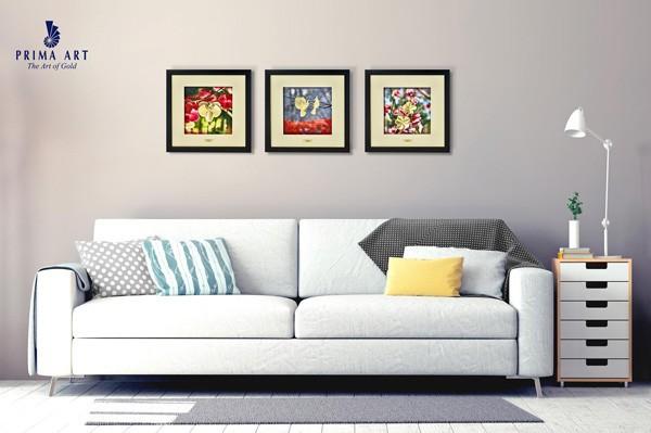 Bộ tranh Sắc Màu làm từ vàng 24K trưng bày tại phòng khách
