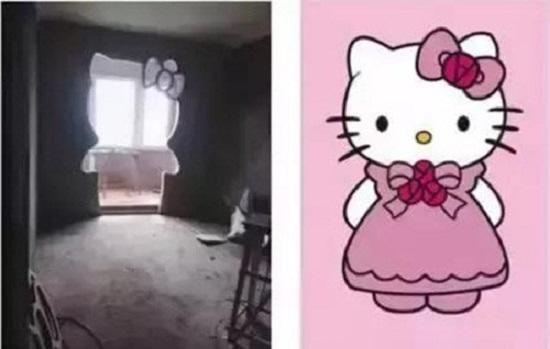 """Người vợ trẻ bắt đầu cải tạo căn nhà bằng việc """"khoét"""" bức tường dẫn vào phòng khách thành hình chú mèo Hello Kitty hết sức độc đáo."""