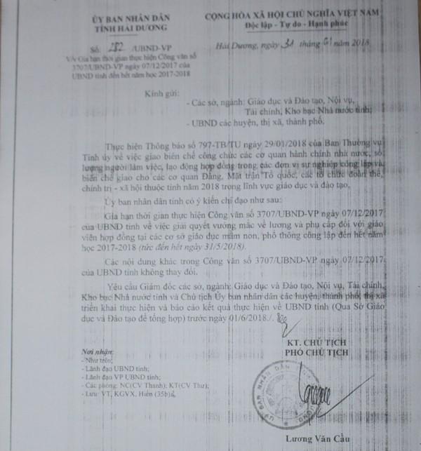 Công văn của UBND tỉnh Hải Dương gia hạn cho giáo viên hợp đồng ngoài biên chế. Ảnh: Đ.Tùy