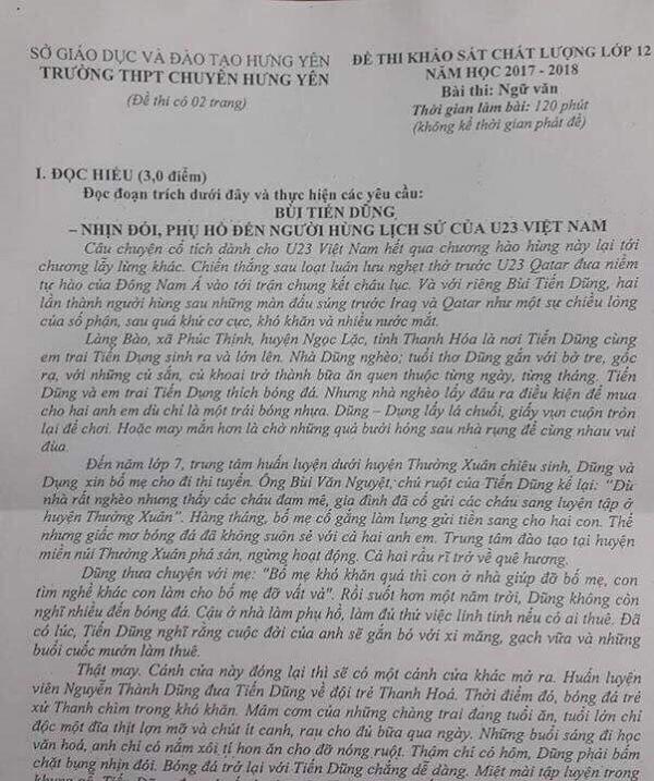 Đề thi có hình ảnh Bùi Tiến Dũng của Trường THPT chuyên Hưng Yên