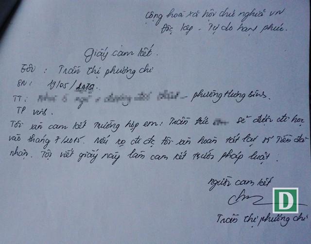 Bản cam kết hoàn tiền được cho là của Trần Thị Phương Chi lập sau khi nhận tiền từ Hiền để chạy trường cho bị hại