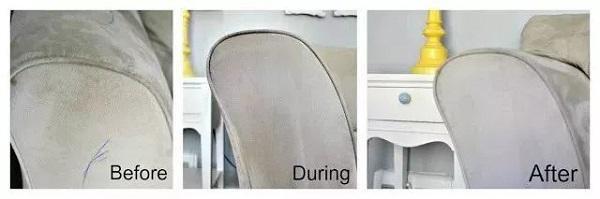 Khi cồn đã bay hơi, bạn sử dụng bàn chải chải theo một chiều trên ghế sofa, lúc này bộ ghế của gia đình bạn sạch sẽ và đẹp như mới.