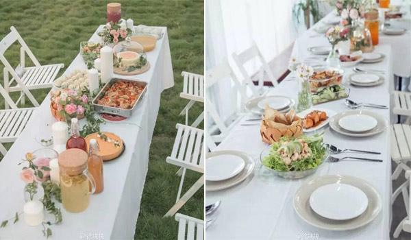 Bàn ăn trong bếp và ngoài trời là loại bàn dài sắp xếp theo phong cách Châu Âu, có thể dành cho cả gia đình cùng nhau ngồi ăn những món ăn do chính tay cô gái trẻ nấu nướng.