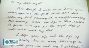 Lời nhắn viết tay từ bà Jamie gửi đến bé Kingston và gia đình.