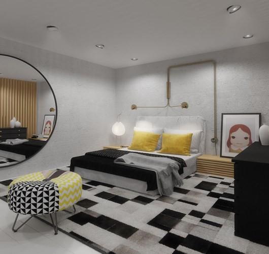 Điểm nhấn mà bất kỳ ai khi bước vào phòng ngủ cũng phải chú ý chính là chiếc ghế lười ở cuối giường nó hoàn toàn hợp tông với màu thảm sàn bên dưới.