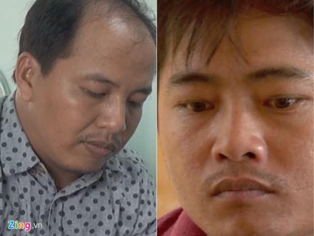 Lâm (trái) và Trường tại cơ quan điều tra. Ảnh: C.A.