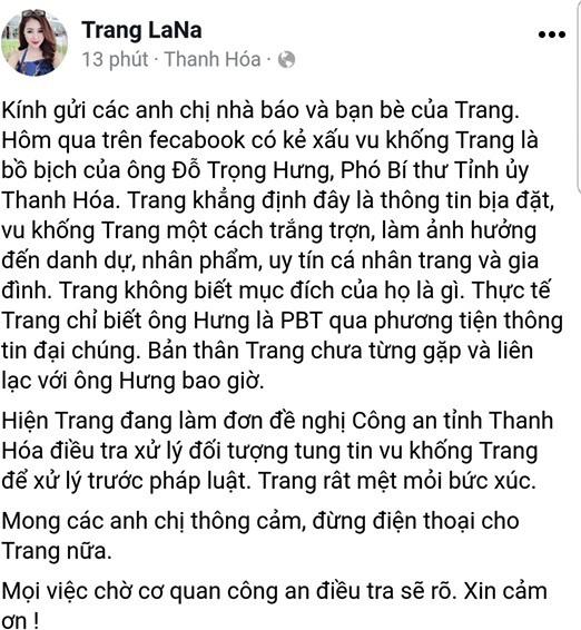 Tài khoản có tên Trang LaNa những thông tin trên mạng viết về mình là bịa đặt