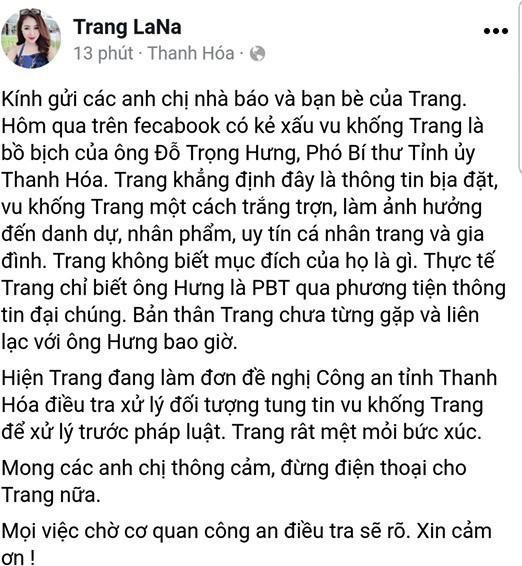Người phụ nữ được cho là bố nhí Phó bí thư tỉnh Thanh Hóa lên tiếng.