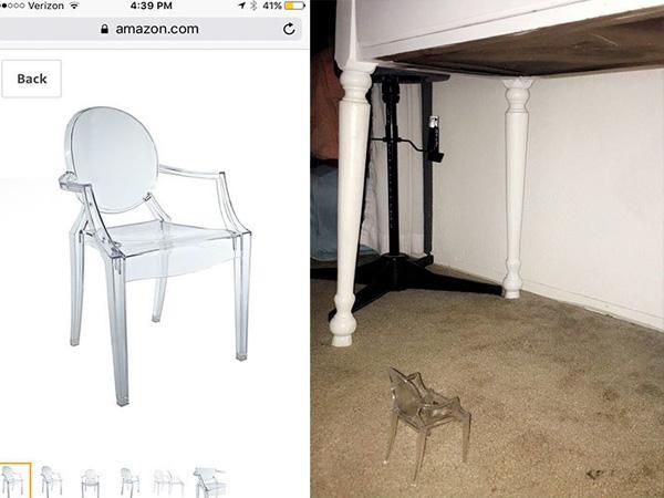 Cô gái này đã xem xét kỹ càng rồi đặt mua cho mình một chiếc ghế tựa trong suốt, nhưng hãy nhìn xem, ghế thì y như hình nhưng kích thước thì lại quá nhỏ rồi.